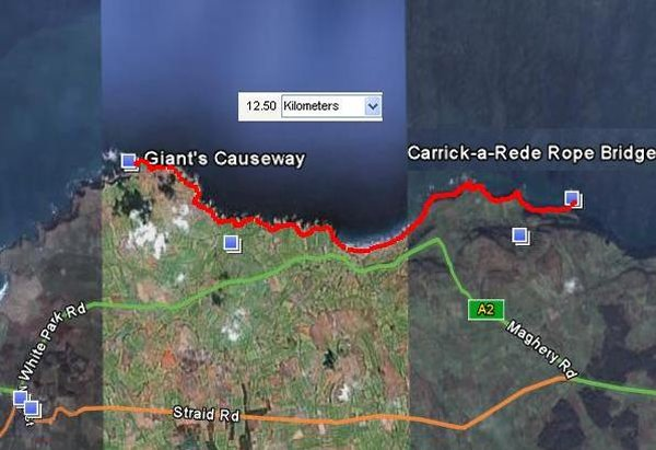 Map Of Ireland Giants Causeway.Causeway Coast Carrick A Rede Bridge To Giant Causeway Running